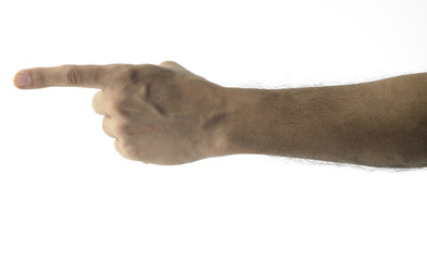 INDEX FINGER/ High resolution image of male hand with index finger pointing in an accusing or blaming manner. This image can be used as vertical also