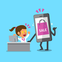 Cartoon businesswoman and smartphone with shopping icon