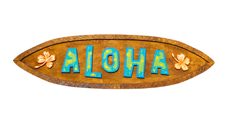Aloha wooden sign. Path included.