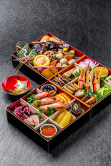 典型的なおせち料理 New Year dishes New holidays(Osechi)