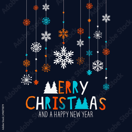 merry christmas decorations hanging snowflake decorations and merry christmas sign vector illustration