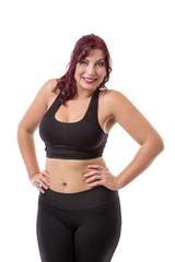 Slim woman in gym kit