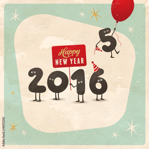Vintage style funny greeting card - Happy New Year 2016 - Editable ...