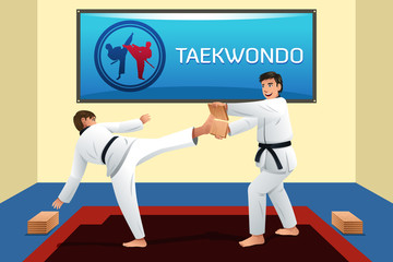 People Practicing Taekwondo