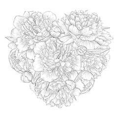 Beautiful monochrome black and white heart decorated by flowers peony. I love you.