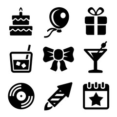 Party and Birthday Icons Set. Vector
