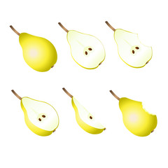 Ripe pears, pears slices on a white background.