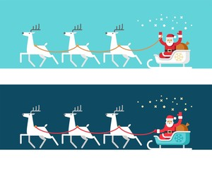 Santa Claus on sleigh and his reindeers. Christmas card. Vector illustration, flat style.