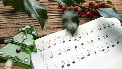 Handgeschriebenes Notenblatt, O du fröhliche, Weihnachten, Tannenbaum, Ilex Zweig
