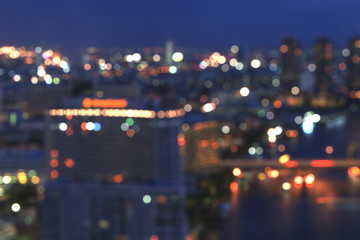 Bangkok cityscape at twilight, Blurred Photo bokeh