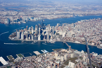 Aerial view of Lower Manhattan, New York City, NY, USA