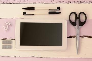 Business background - tablet, pen and scissors - mock up