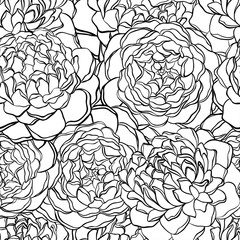seamless pattern with monochrome, black and white flowers.