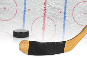 Stick, puck and hockey arena