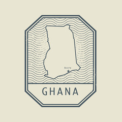 Stamp with the name and map of Ghana