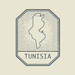Stamp with the name and map of Tunisia