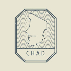 Stamp with the name and map of Chad