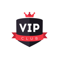 Vip club sign with ribbon and crown. Vector creative design modern flat illustration