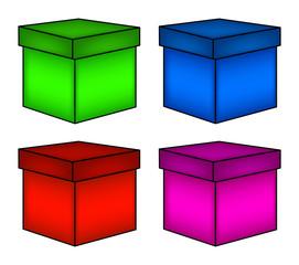 christmas box set, gift icon, symbol, design. vector illustration isolated on white background.