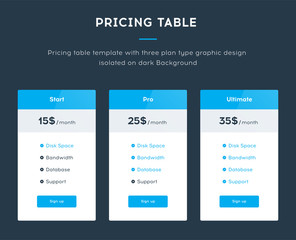 Pricing Table Template with Three Plan Type - Start Pro and Ultimate Graphic Design Isolated on Dark Background. Vector illustration concept, blue version
