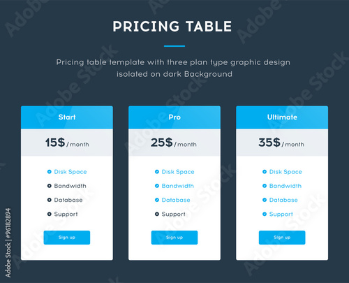 Pricing table template with three plan type start pro for Pricing table design