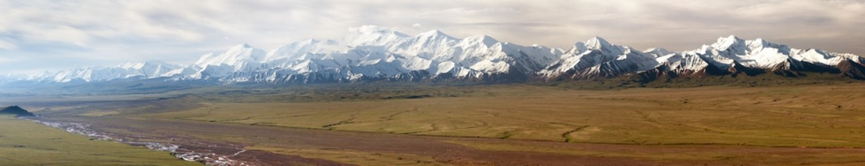 Panoramic view of Pamir mountain and Pik Lenin