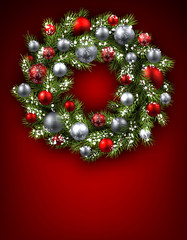 Background with Christmas wreath.