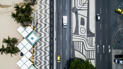 Top View of Copacabana beach with mosaic of sidewalk in Rio de Janeiro. Brazil