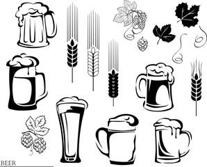 beer, beer mug, hop, vector, illustration, elements of graphic registration