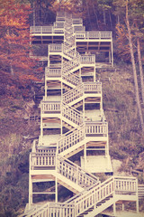 Vintage toned stairs in autumn.