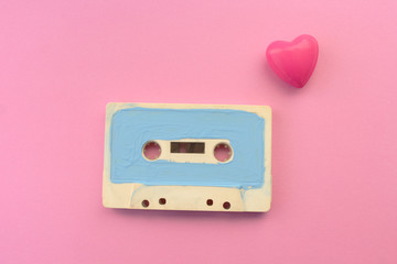 Cassette tape and heart - love good old technology concept