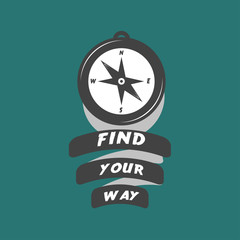 vintage compass logo with motivation text