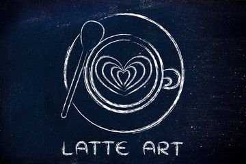 cup of cappuccino with heart design and text Latte Art