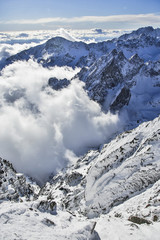view from Lomnicky peak in Tatra Mountains Slovakia winter