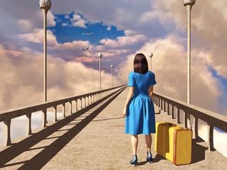Mujer sobre un puente con una maleta