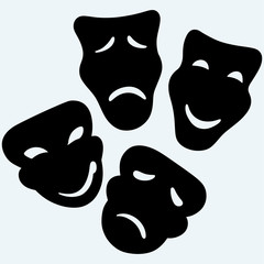 Theater icon with happy and sad masks. Isolated on blue background. Vector silhouettes