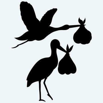 Stork with baby. Isolated on blue background. Vector silhouettes
