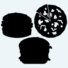 Circular cut pizza and hamburger. Isolated on blue background. Vector silhouettes
