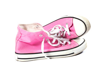 Pink canvas gym shoes