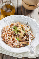 buckwheat with beef and mushrooms. Beef stroganoff with mushrooms and buckwheat. Russian kitchen