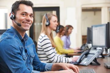 Male Customer Service Agent In Call Centre