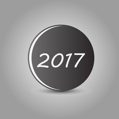 ball with shadow on yellow background year 2017 vector