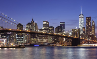 Manhattan waterfront at night, New York City, USA