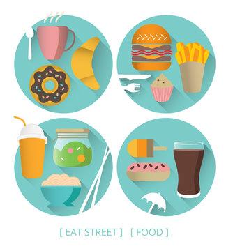 eat street, food, icone, cuisine rapide, nourriture, manger, repas
