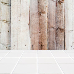 wooden background and white mosaic floor