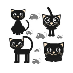 Flat vector icon of a black cat sitting and looking