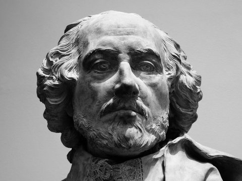 Black & white image of  William Shakespeare's head from a terracotta bust dating from 1730