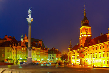 Castle Square at night in Warsaw, Poland.