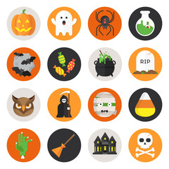 Halloween Vector Flat Icon Set with Pumpkin, Ghost, Spider, Bottle, Bats on Moon, Candy, ?auldron, Grave, Owl, Death, Mummy, Candy Corn, Zombie Hand, Broom, Scary House and Skull