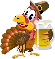 Happy Thanksgiving Turkey holding Beer mug isolated